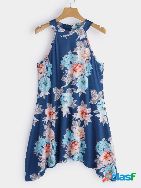 Parte superior de Cami da cópia floral azul do pescoço alto