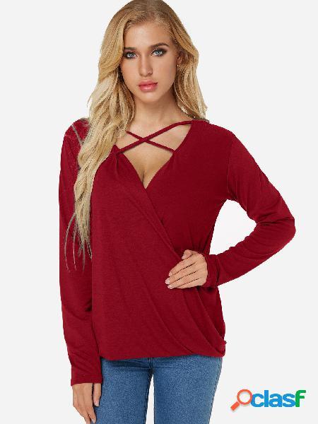 T-shirt de mangas compridas com detalhes em decote em v frente vermelha com decote em v