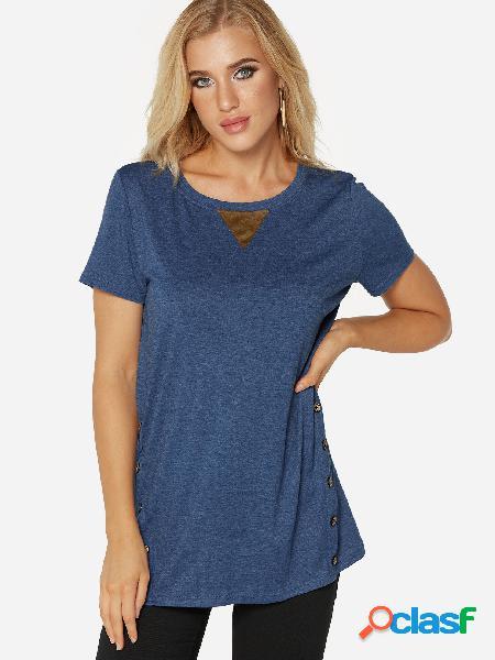 Design de botão azul em torno do pescoço manga curta tee verão