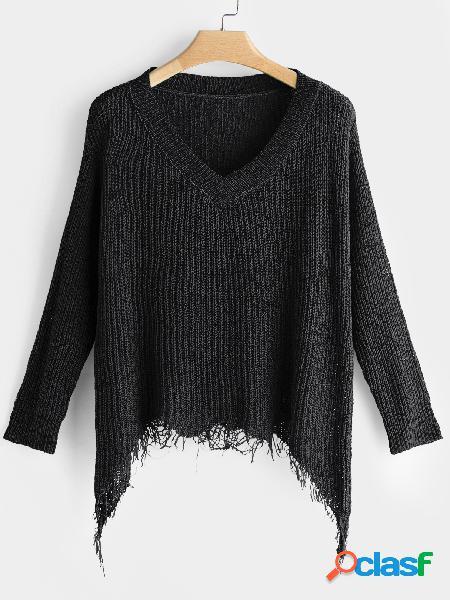 Black tassel details blusas de mangas compridas com decote em v