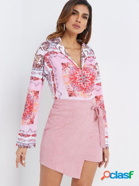 Lapela rosa gola mangas compridas blusa de impressão de lenço aleatório