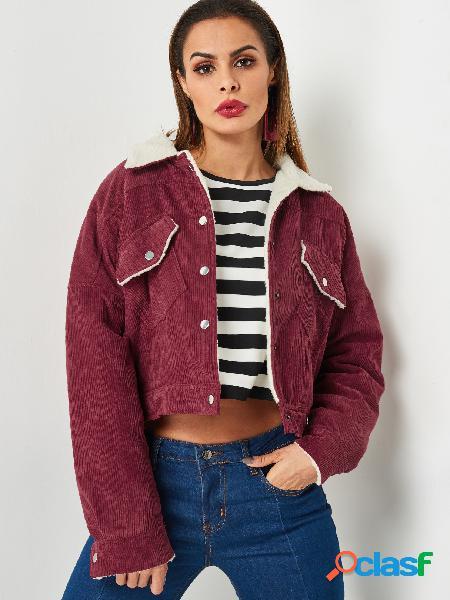 Borgonha corduroy lapel collar botão design jacket