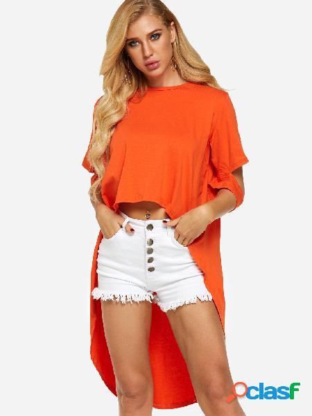 T-shirt de manga alta de manga curta laranja