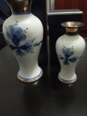 2 jarras ceramica e prata fabrica do douro