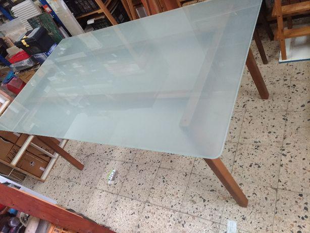 Mesa jantar ikea madeira vidro + 6 cadeiras