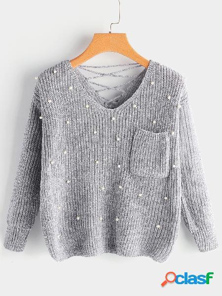 Cinza lace-up voltar com decote em v mangas compridas beading knitting jumpers