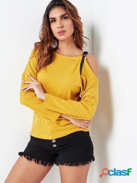 T de mangas compridas de ombro amarelo frio