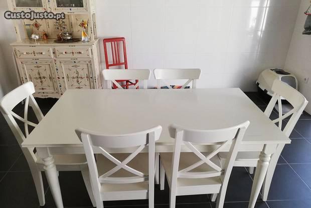 Mesa extensível e 6 cadeiras ikea