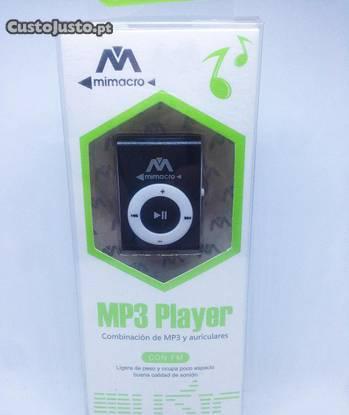 Leitor mp3 com clip tipo ipod (com acessórios)