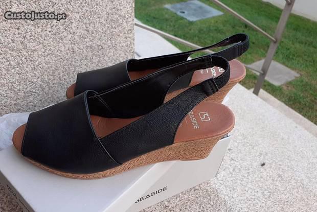Sandálias pretas seaside novas - tam. 36