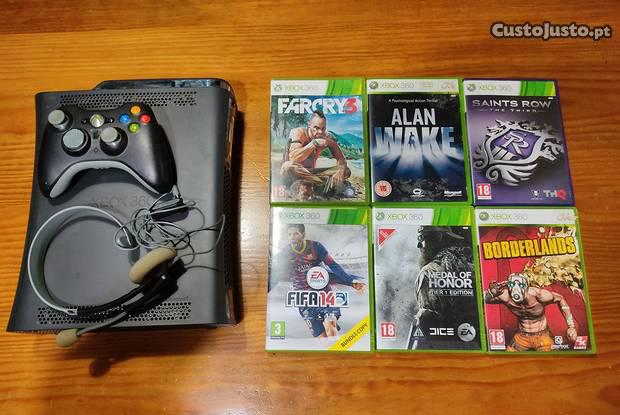 Xbox 360 elite (120gb) c/ caixa e 6 jogos