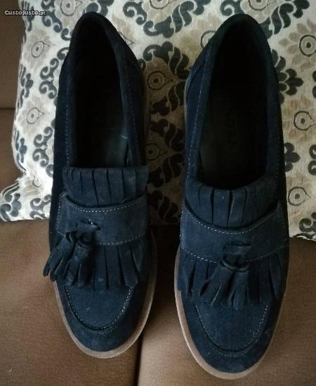 Sapatos camurça azul senhora