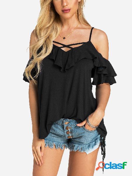 T-shirt sem mangas curtas pretas com decote em v com decote em v