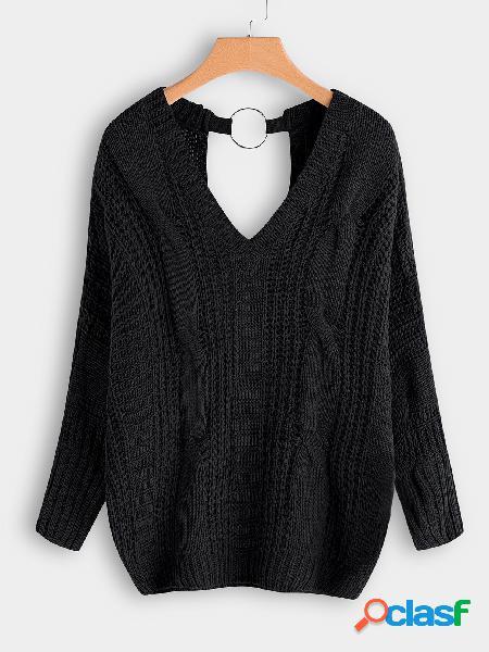 Camisolas de malha de cabo de mangas compridas com decote em v preto backless design