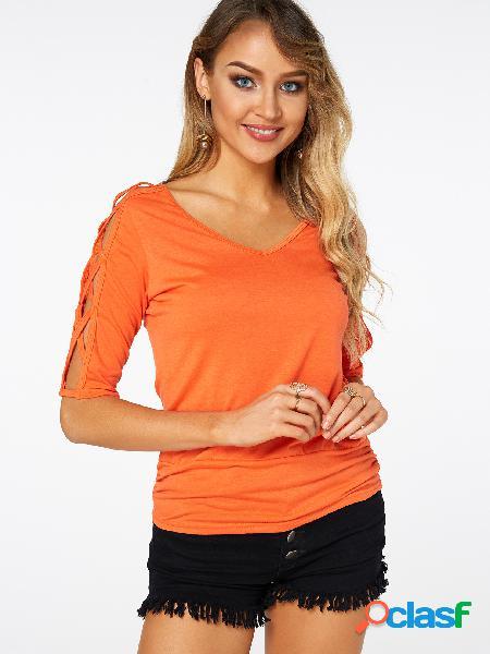 T-shirt de mangas compridas de decote em v laranja com decote em v