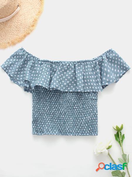 Bolinhas azuis plissadas do projeto fora da parte superior da colheita do ombro