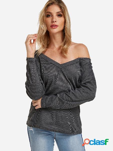Cinza um ombro design profundo decote em v mangas compridas blusas