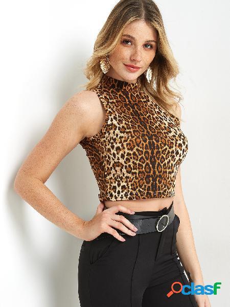 Leopardo gola sem mangas colheita sem mangas