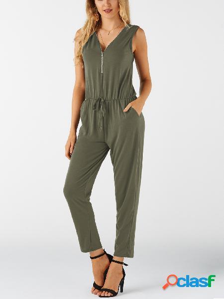 Zip design verde com decote em v sem mangas casual playsuit