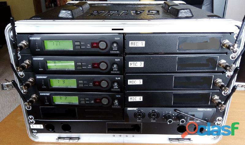 Shure sistemas sem fio 4+4+4 microfones