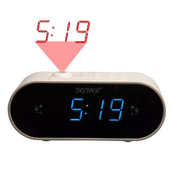 Relógio digital c/ rádio e projeção (branco) - denver