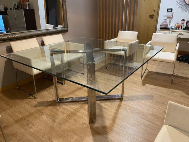 Mesa quadrada sala vidro base inox