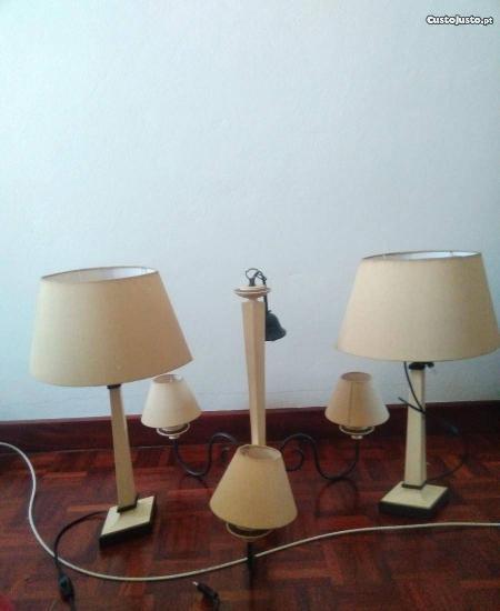 Conjunto de lustre e 2 candeeiros como novos