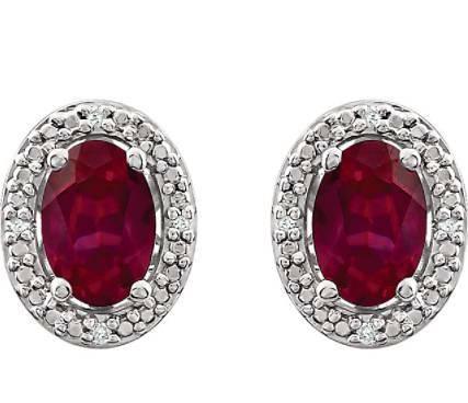 Brincos de prata com rubi e diamantes