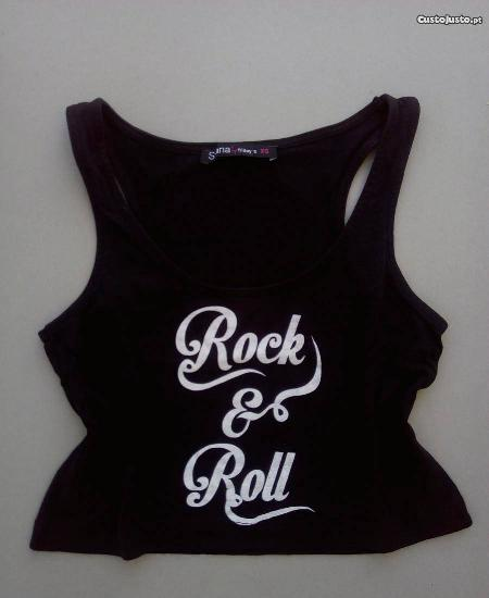 "Top preto ""rock&roll"", shana"