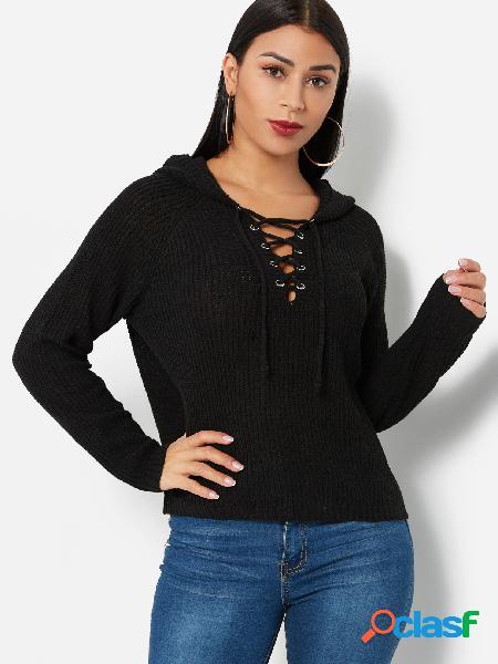 Black hooded design lace up detalhes blusas de mangas compridas com decote em v