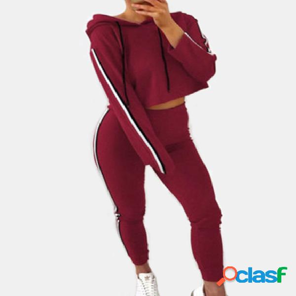 Red hooded design liso pullover long sleeves activewear