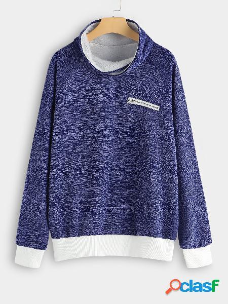 Design azul zip plain gola alta manga comprida camisolas