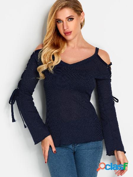 Marinho plain v-neck lace up design bell mangas blusas finas
