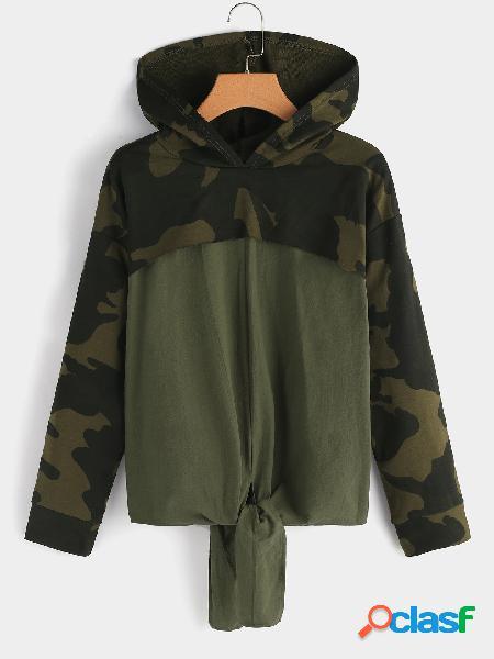 Camisola de moletom com capuz de manga comprida verde do exército de moletom com capuz