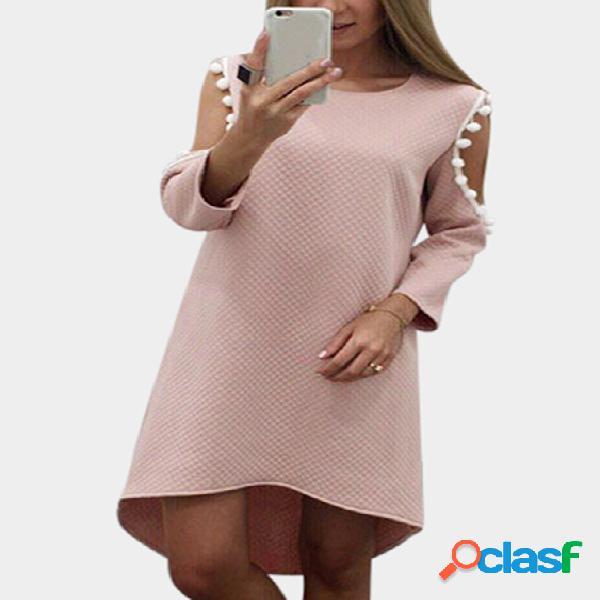 Pink cut out & tassel details mini dress with curved hem