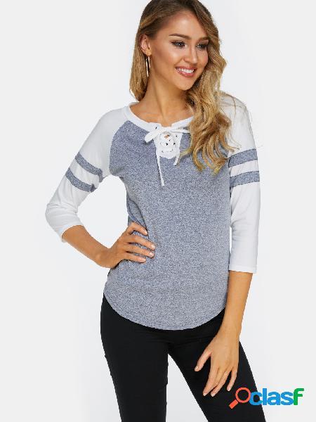 Cinza lace up design front stripe tripulação pescoço mangas compridas t-shirts