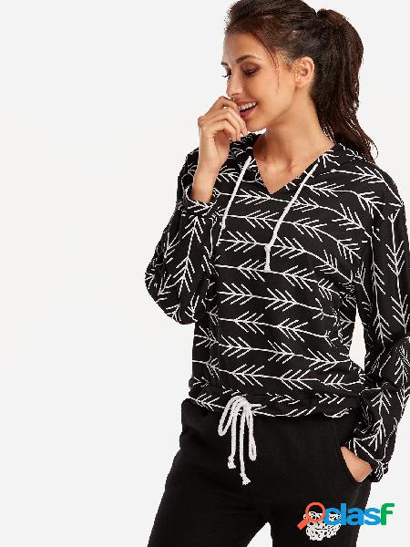 Design com capuz preto aleatório floral print decote em v mangas compridas camisolas