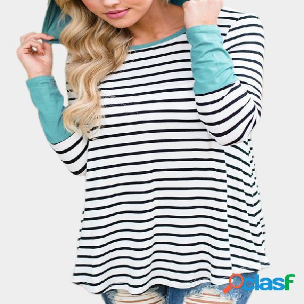 Green stripe padrão patchwork long sleeves hoodies