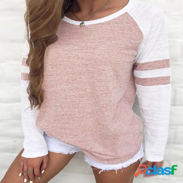 Rust stripe colorblock round neck raglan sleeves t-shirts