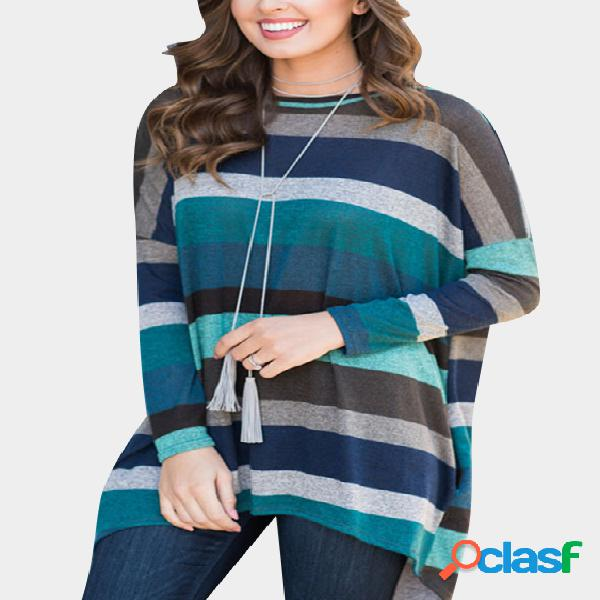 Blue stripe pattern round neck mangas compridas loose shirt