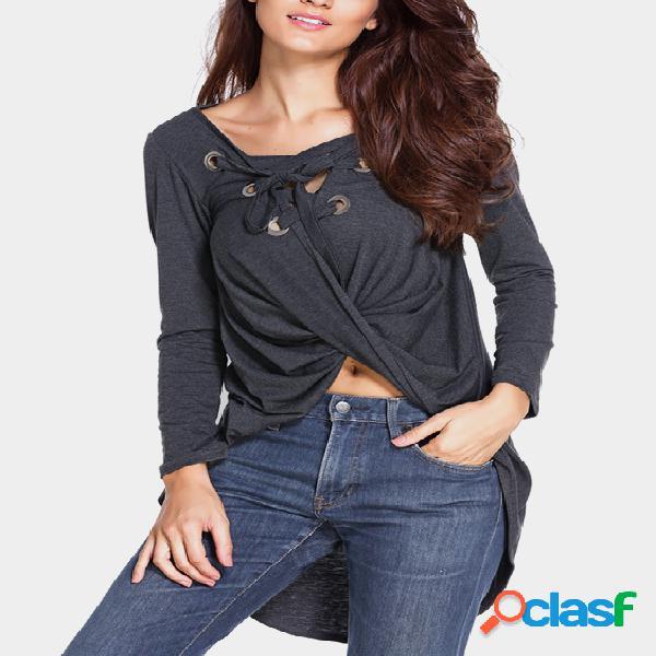 Dark Grey Lace-up Design T-shirt com decote em V