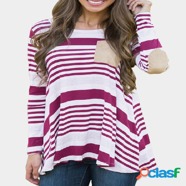 Plum Stripe Pattern Round Neck mangas compridas Loose Casual T-shirt 0