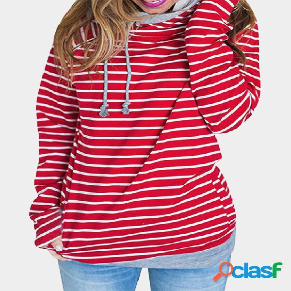 Red Stripe Drawstring Polo Neck Long Sleeves Hoodies