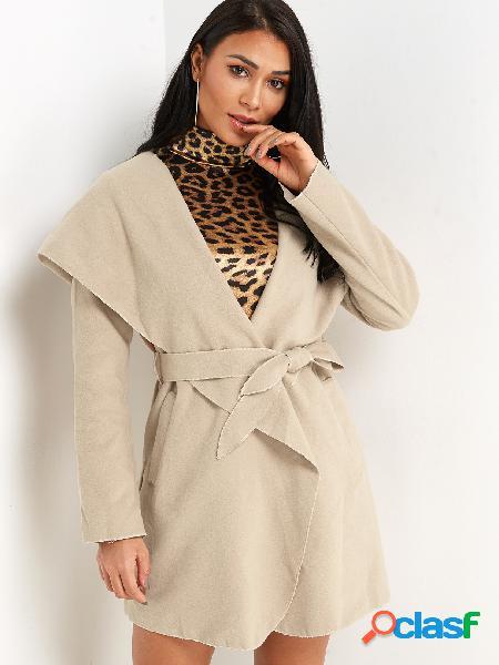Khaki hooded design manga comprida self-tie trench coat