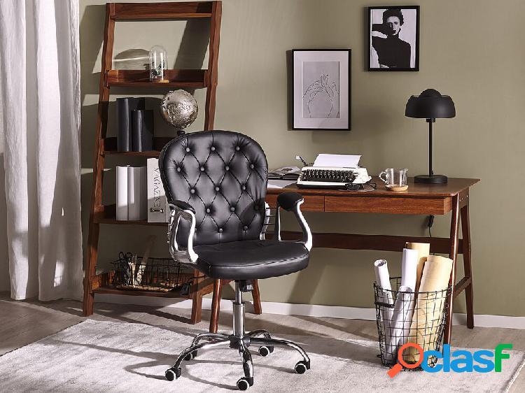 Cadeira de escritório em pele sintética preta princess