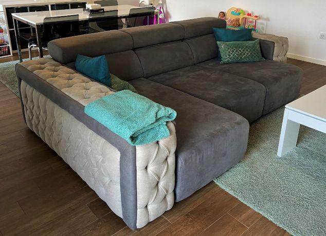 Sofá chaise longue c/ sistema relax em pele sintética