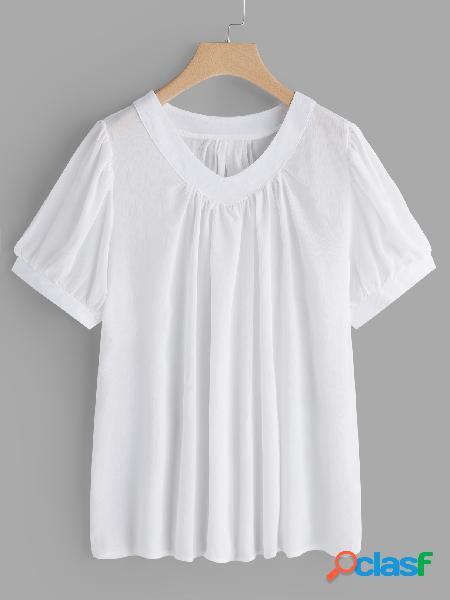 Blusa plissada branca lisa das luvas da lanterna