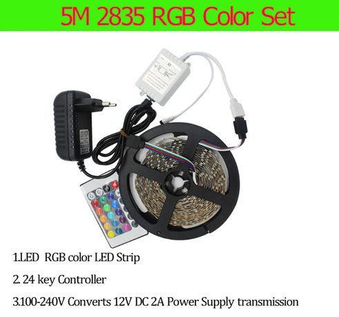 Fita led rgb de 5 mts sdm 2835 não impermeável c/ comando