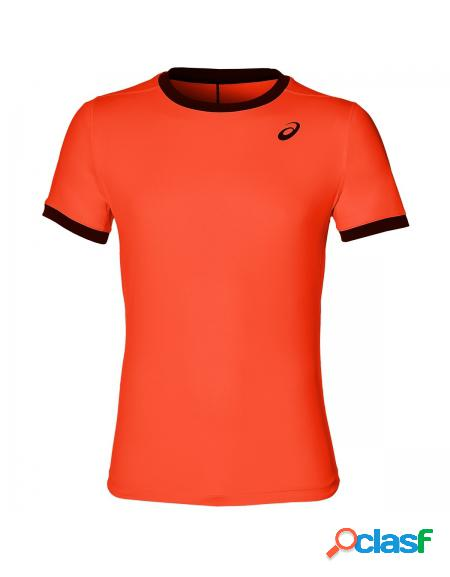 Camiseta asics club ss top flash coral - roupa de padel