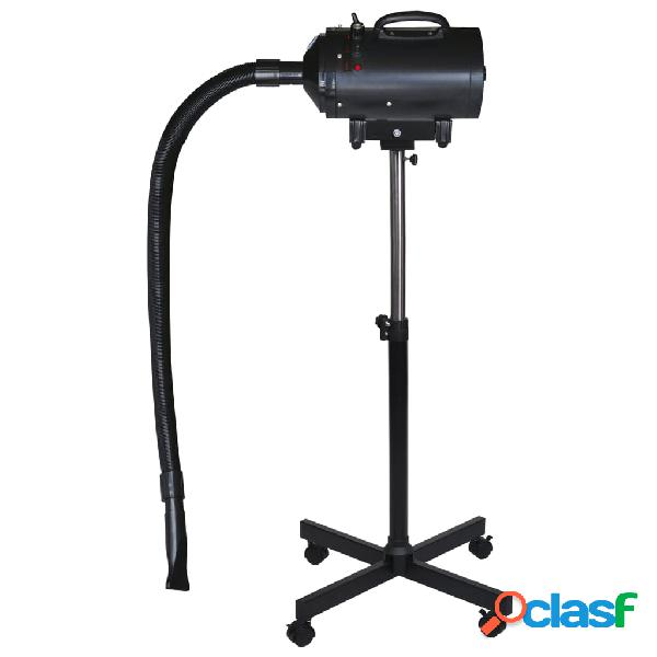 Vidaxl secador animais c/ suporte motor monofásico plástico, aço preto